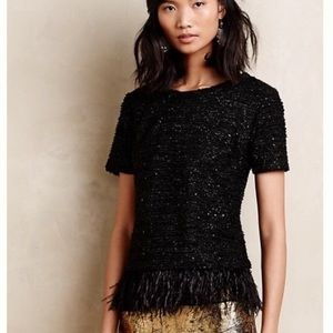 Anthropologie Deletta Feathered Boucle Top